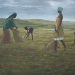 Buntu Qina, Figures in a landscape, Oil on canvas