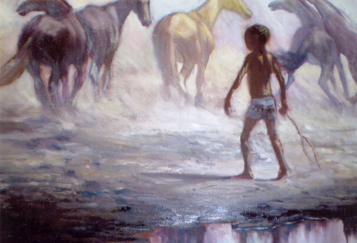 Buntu Qina, The Herder, Oil on canvas