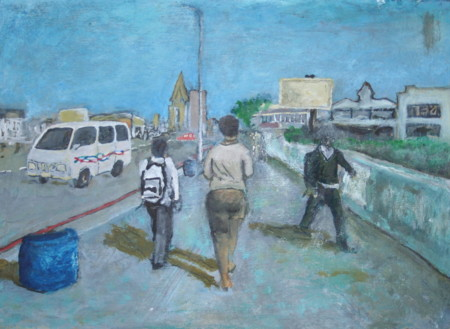 Dinisile Qapa, Down Oxford Street, Oil on canvas